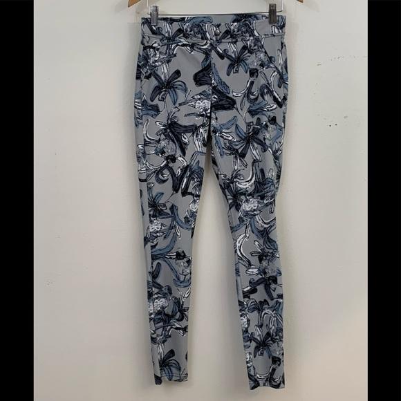 628fcd87cc0a44 HUE Pants | Blue Gray Floral Print Leggings | Poshmark